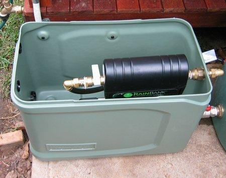 View inside tank box