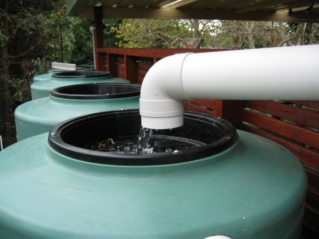Water flowing into tank